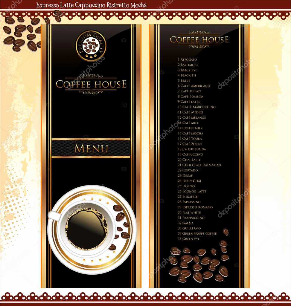 Coffee Shop Menu Template Elegant Coffee Shop Menu Template — Stock Vector © totallyout