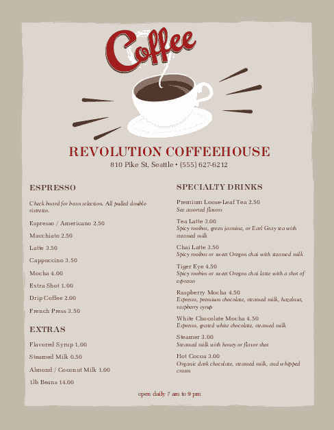 Coffee Shop Menu Template Elegant Urban Coffee Menu