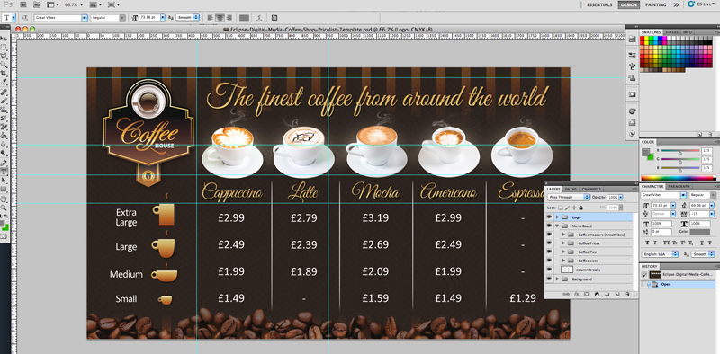 Coffee Shop Menu Template Fresh Coffee Shop Version 2 Menu Board Psd Template
