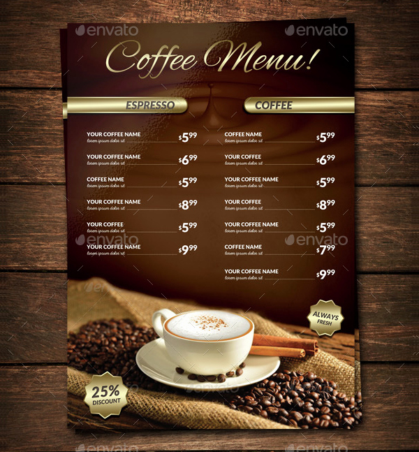Coffee Shop Menu Template Lovely 22 Coffee Menu Templates Free Psd Eps Illustrator Png