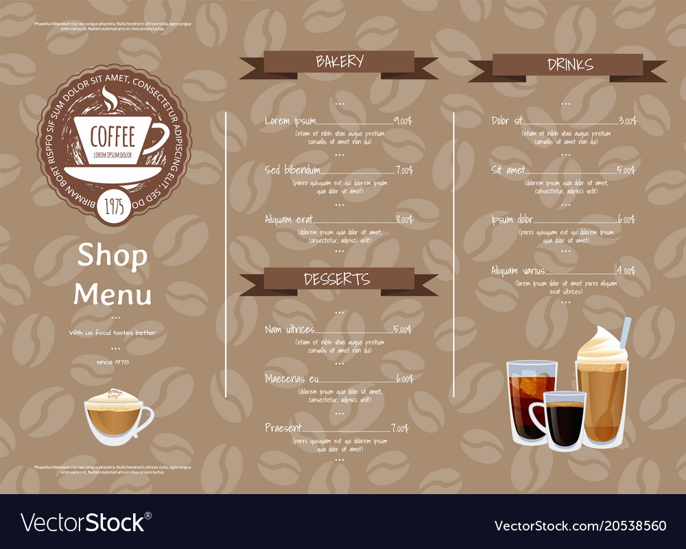 Coffee Shop Menu Template Lovely Coffee Shop Horizontal Menu Template Royalty Free Vector