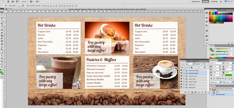 Coffee Shop Menu Template Unique Coffee Shop Menu Board Psd Template