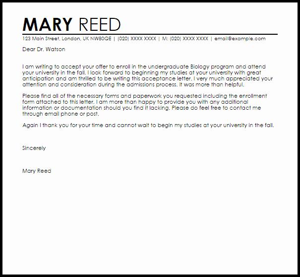 school acceptance letter