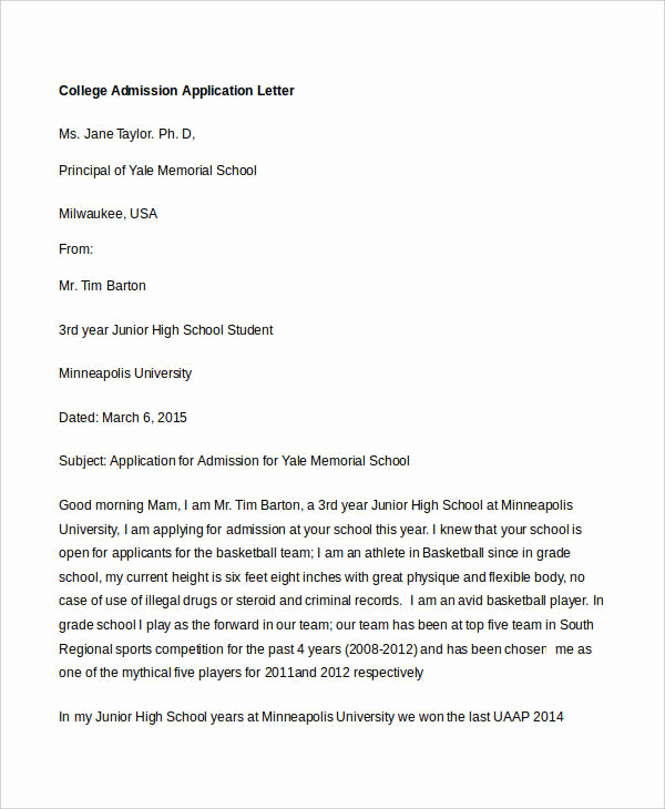 College Acceptance Letter Sample Best Of College Application Letter Templates 13 Free Word Pdf
