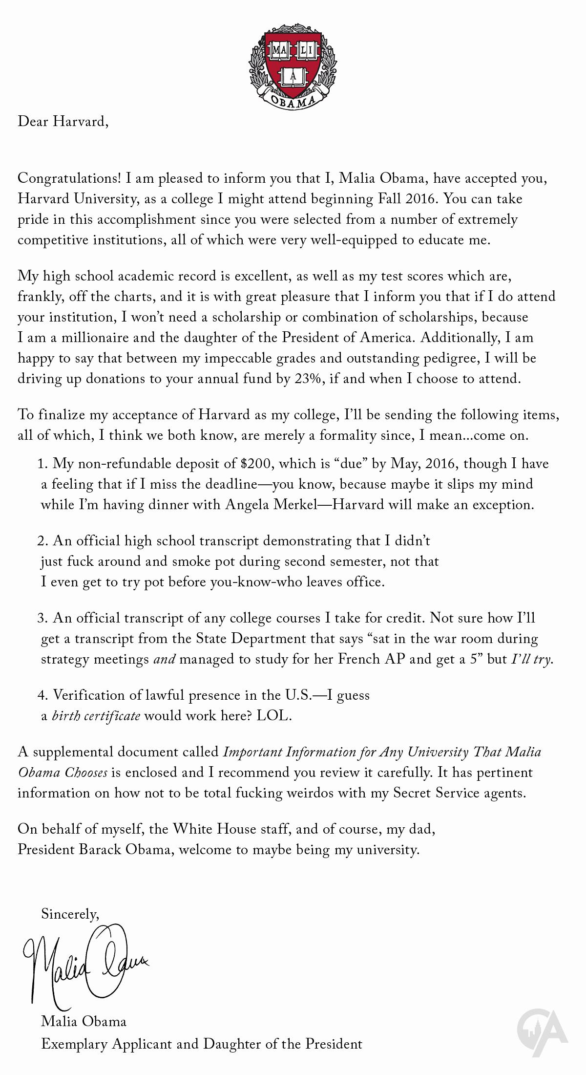 College Acceptance Letter Sample Best Of Malia Obama Sends Acceptance Letter to Harvard the