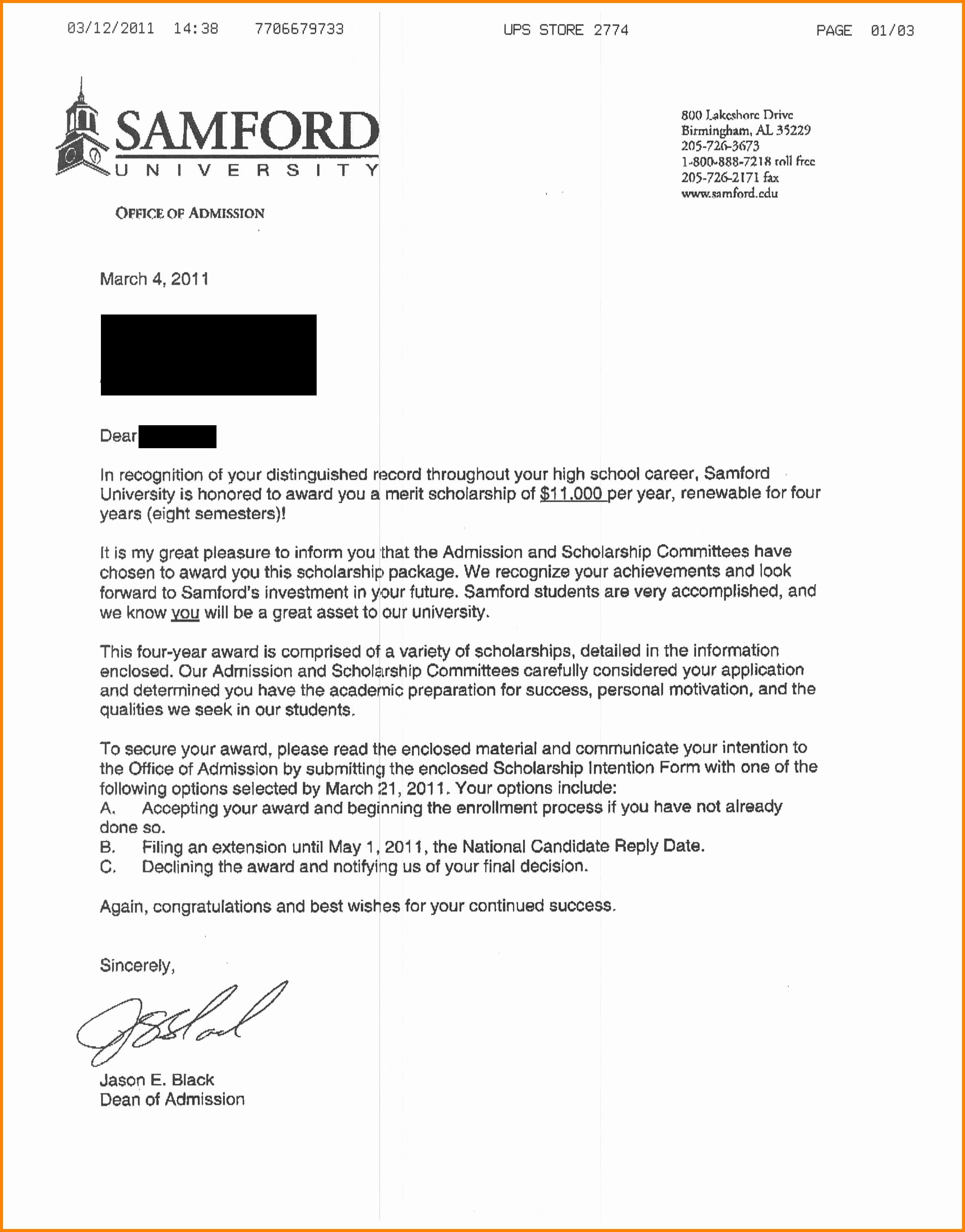 College Acceptance Letter Sample Elegant 6 College Acceptance Letter Sample