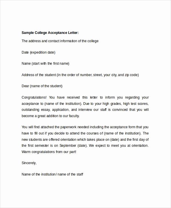 College Acceptance Letter Sample Unique 8 Sample College Acceptance Letters Pdf Word