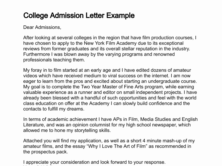 College Acceptance Letter Sample Unique Letter Of Admission