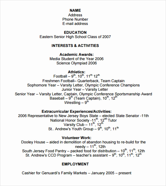 College Applicant Resume Template Beautiful 9 Sample College Resume Templates – Free Samples