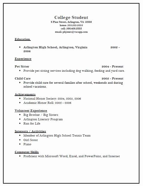 College Applicant Resume Template Elegant College Admission Resume Template