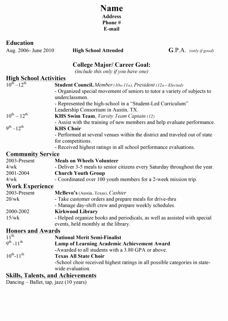 College Applicant Resume Template Lovely 15 Sample Resumes for High School Students