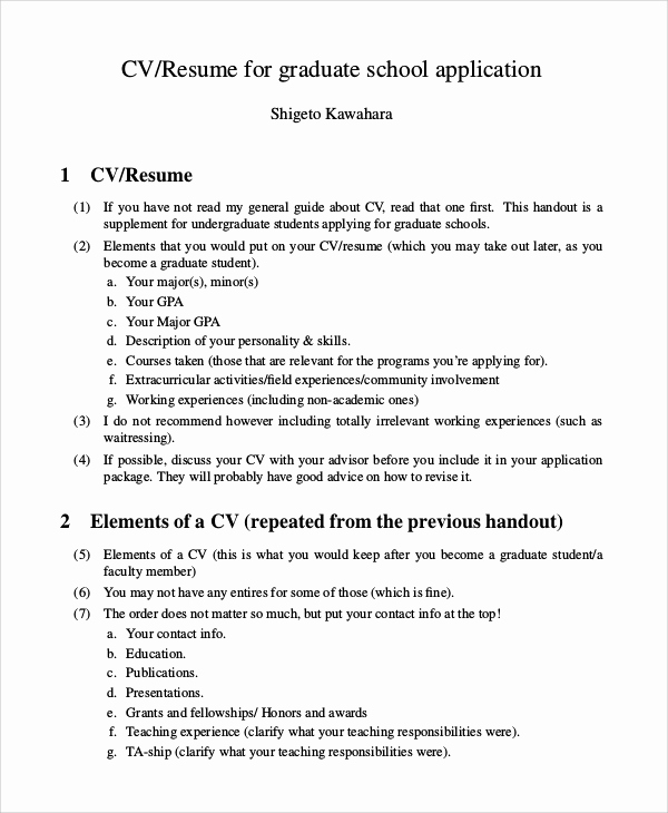 College Applicant Resume Template Lovely 9 Sample Graduate School Resumes