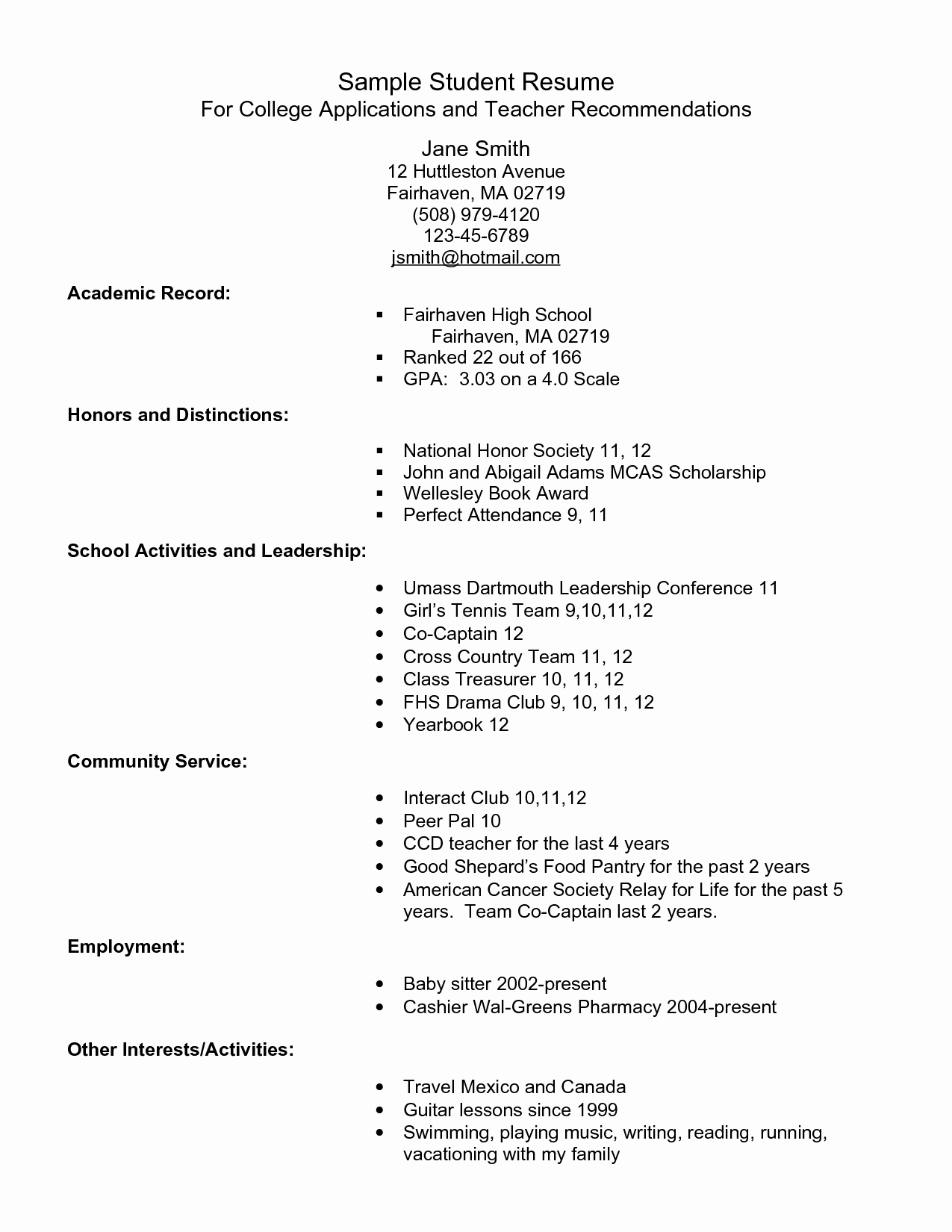 College Applicant Resume Template Lovely Example Resume for High School Students for College