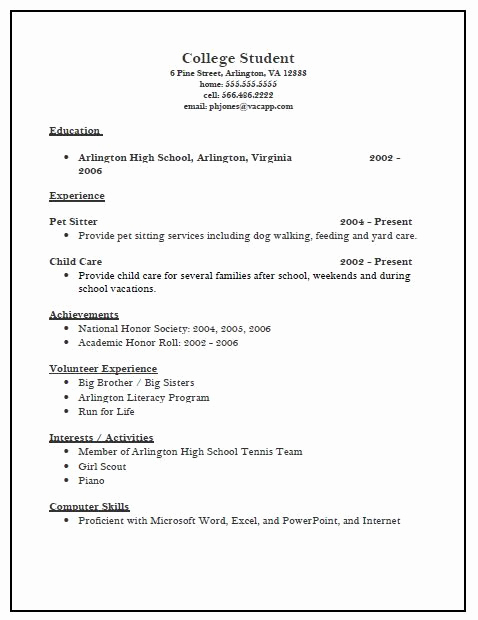 College Applicant Resume Template Luxury College Resume Template
