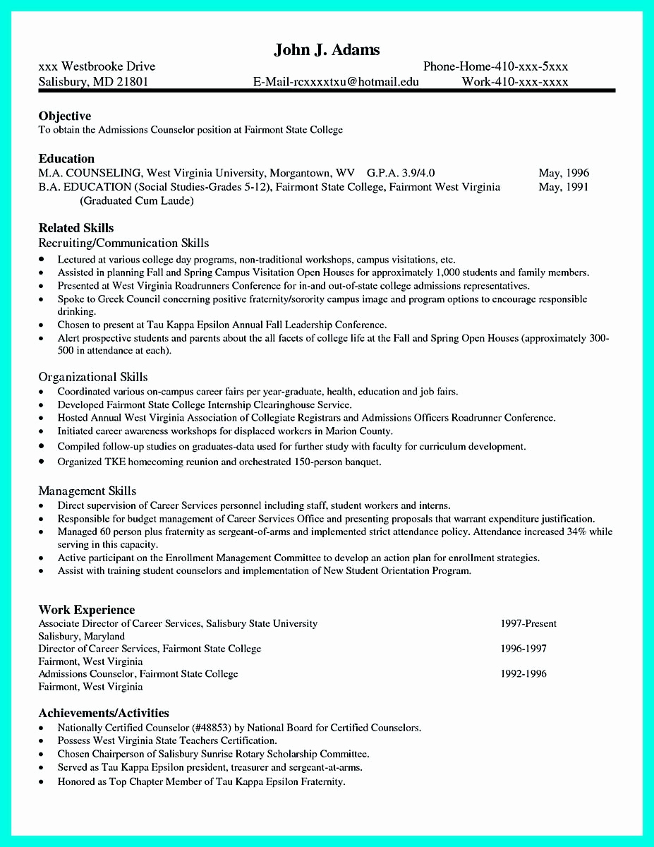 College Application Resume Examples Fresh Pin Di Resume Template