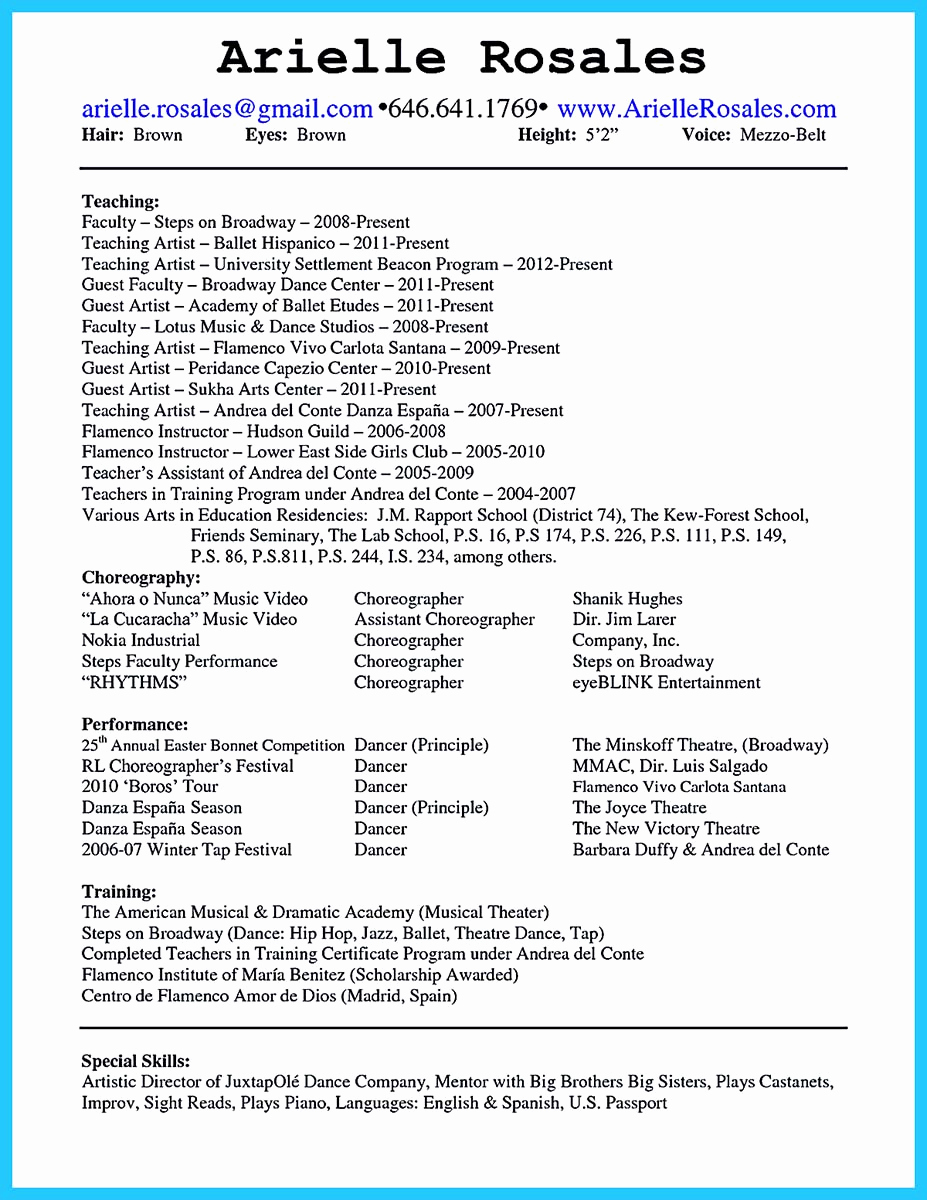 College Application Resume Examples Fresh the Best and Impressive Dance Resume Examples Collections