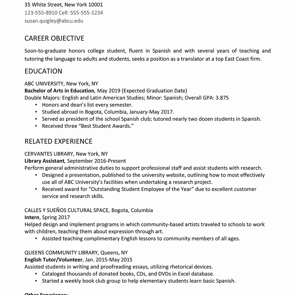 College Graduate Resume Template Elegant College Graduate Resume Example and Writing Tips