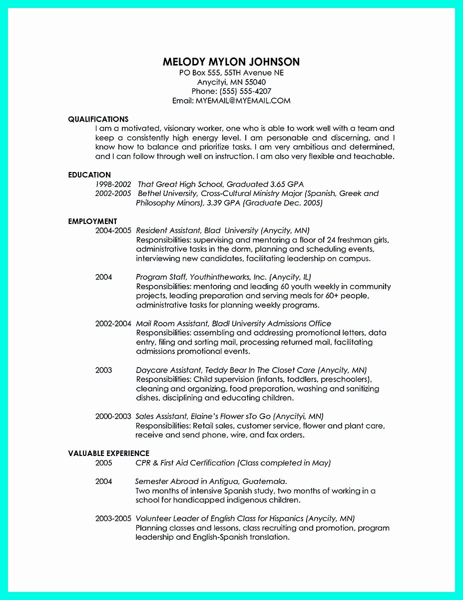 College Graduate Resume Template Elegant Cool Sample Of College Graduate Resume with No Experience