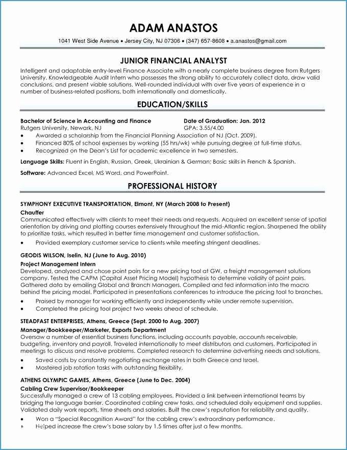 College Graduate Resume Template Unique Examples College Graduate Resumes