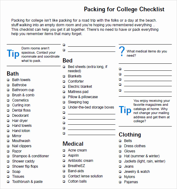 College Packing List Pdf Luxury Packing List Template 8 Free Samples Examples format