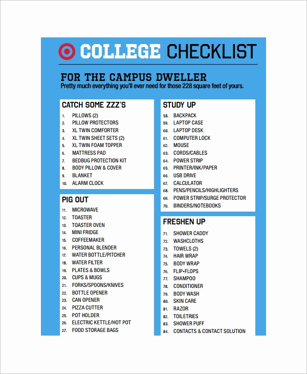 College Packing List Pdf Unique 11 College Checklist Templates Free Sample Example format