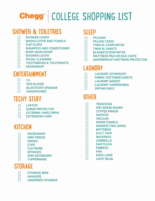 College Packing List Pdf Unique Ultimate College Packing List