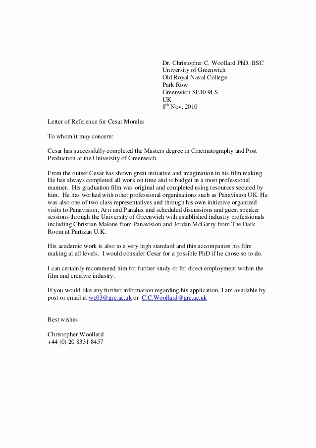 College Recommendation Letter Sample Awesome Greenwich Reference Letter