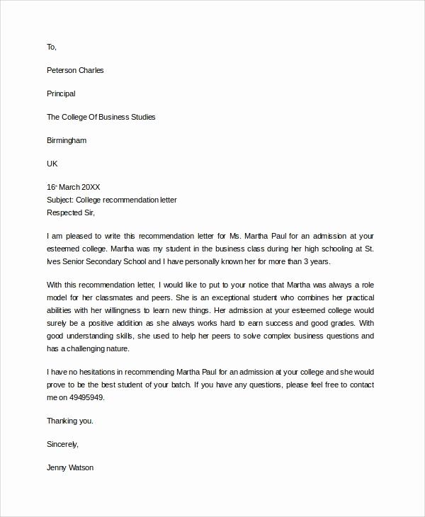 College Recommendation Letter Sample Elegant 7 Sample College Re Mendation Letters