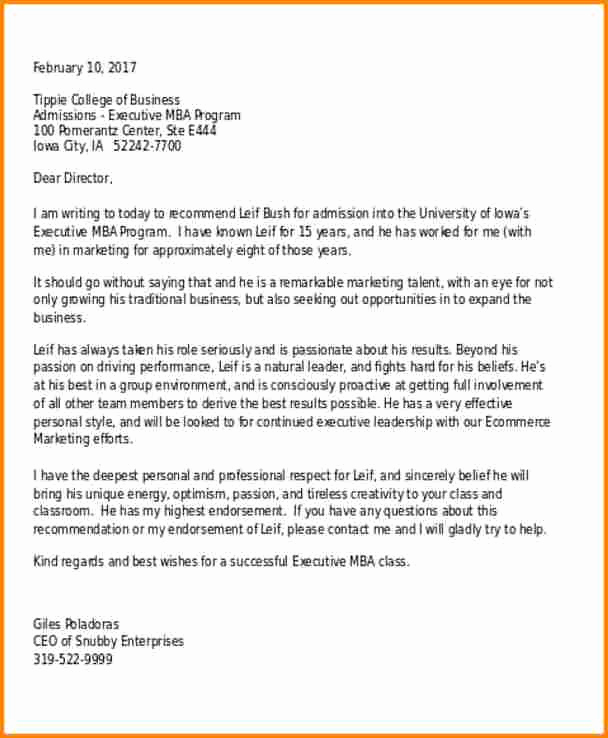 College Recommendation Letter Sample Fresh 8 Re Mendation Letter for College Admission Sample