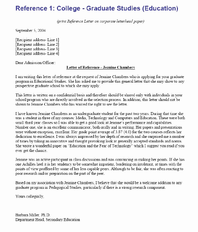 College Recommendation Letter Sample Fresh College Re Mendation Letter