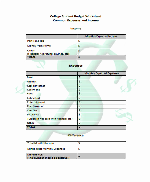 College Student Budget Template Inspirational 7 Student Bud Templates Free Sample Example format