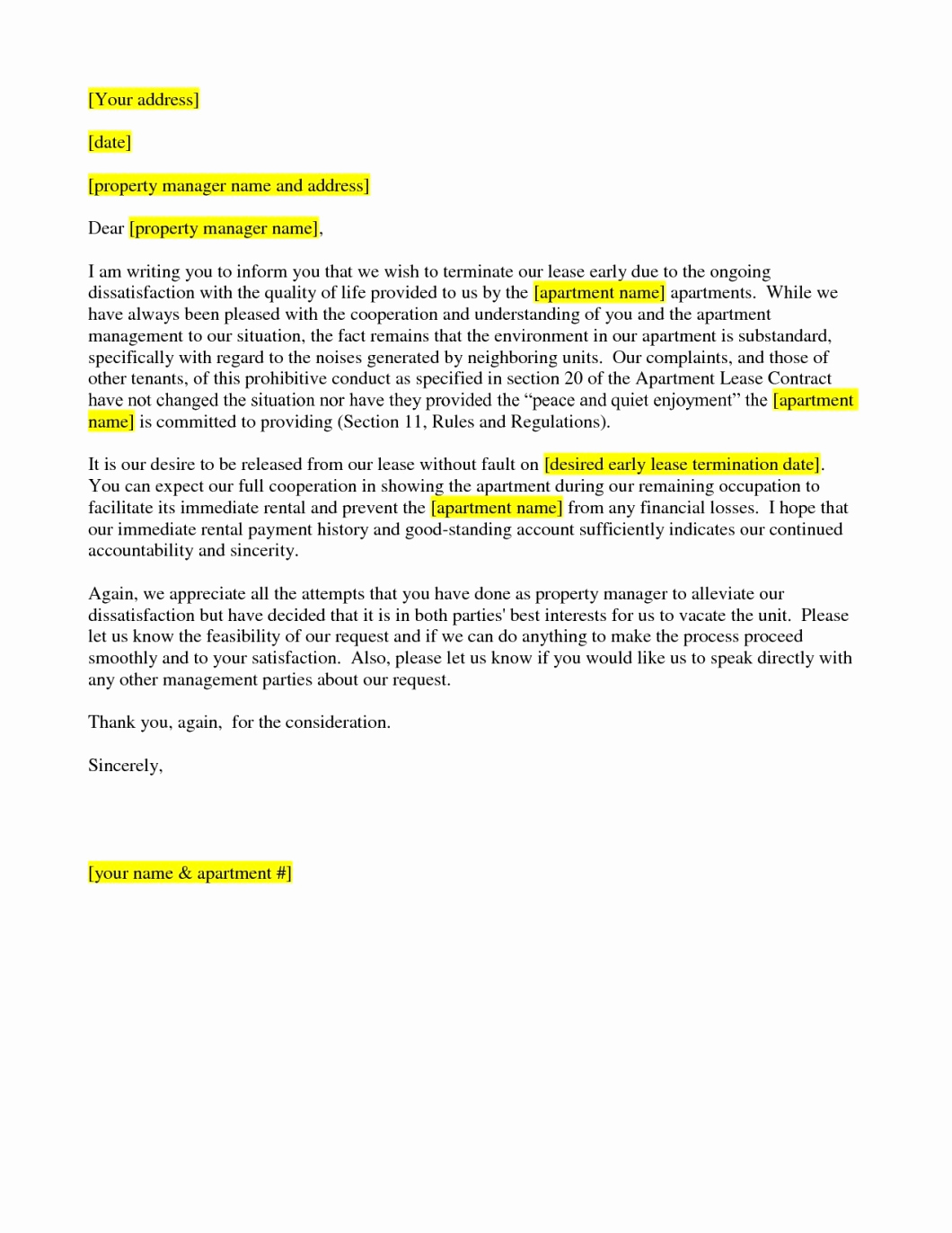 Commercial Lease Termination Letter Best Of Lease Termination Letter Sample Early From Landlord to