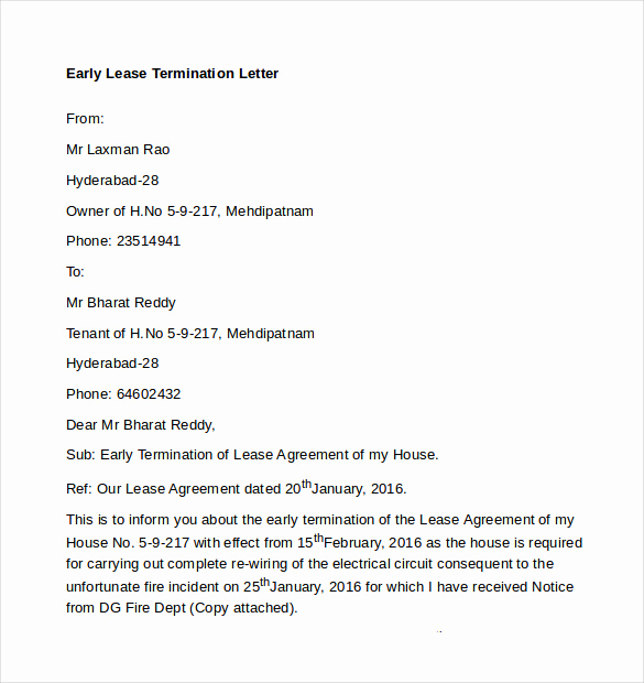 Commercial Lease Termination Letter Elegant Early Lease Termination Letters 9 Download Free
