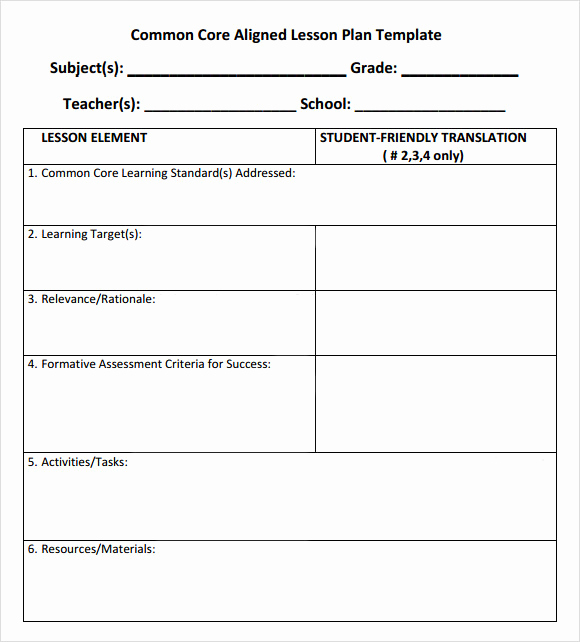 Common Core Lesson Plan Template Awesome 7 Sample Mon Core Lesson Plan Templates to Download