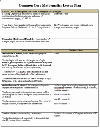 Common Core Lesson Plan Template Awesome Mon Core Lesson Plan Template