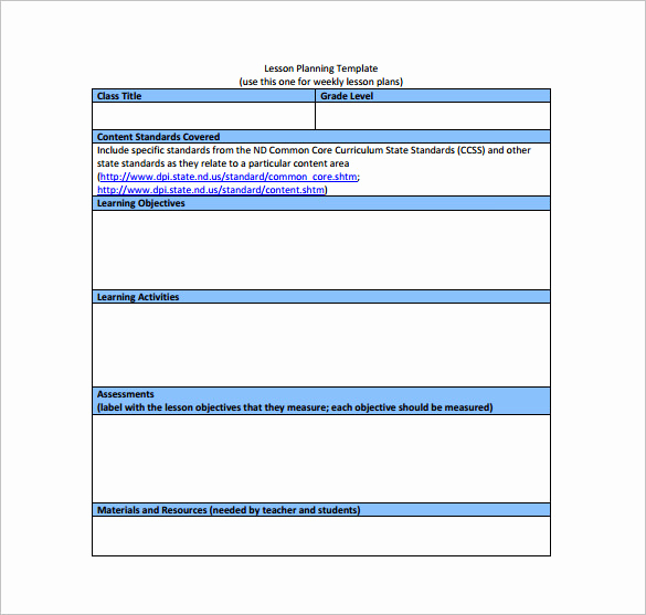 Common Core Lesson Plan Template Best Of Mon Core Lesson Plan Template 8 Free Word Excel