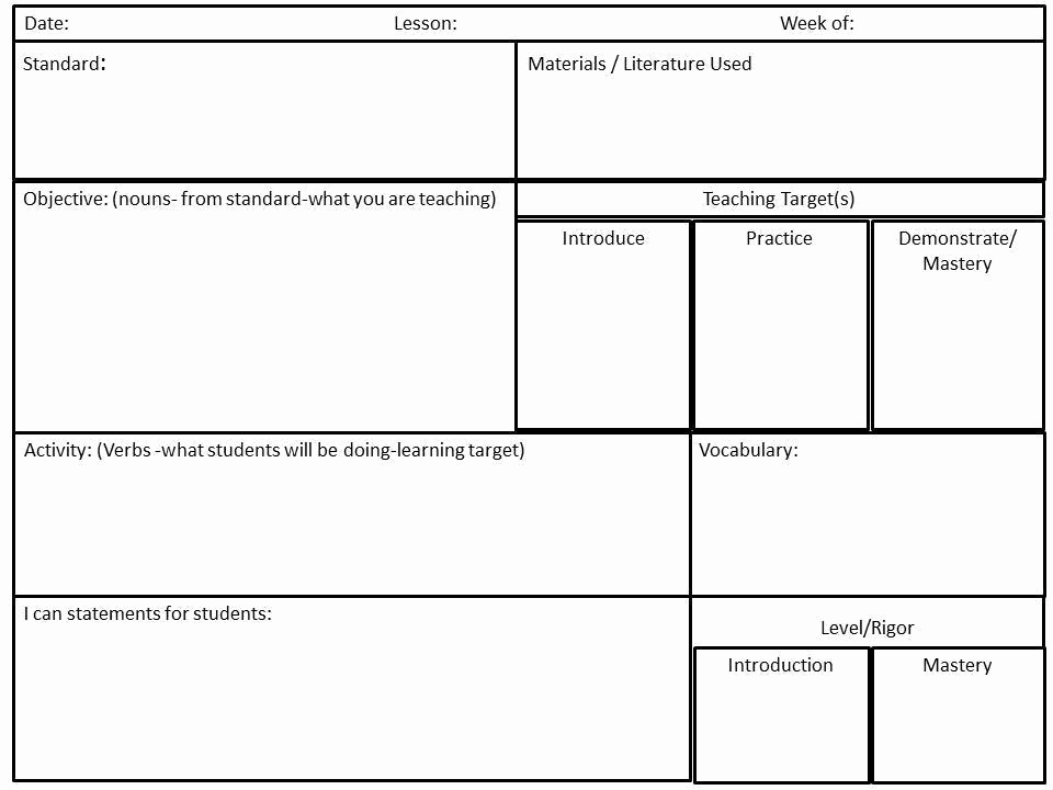 Common Core Lesson Plan Template Inspirational Reading Mastery Lesson Plan Template – Co Teaching