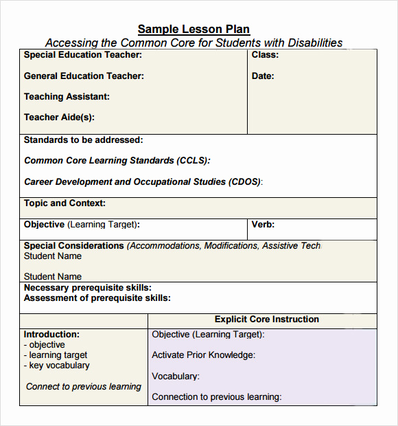 Common Core Lesson Plan Template New 7 Sample Mon Core Lesson Plan Templates to Download