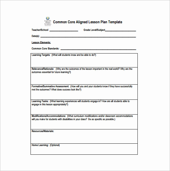 Common Core Lesson Plan Template New Mon Core Lesson Plan Template 8 Free Word Excel