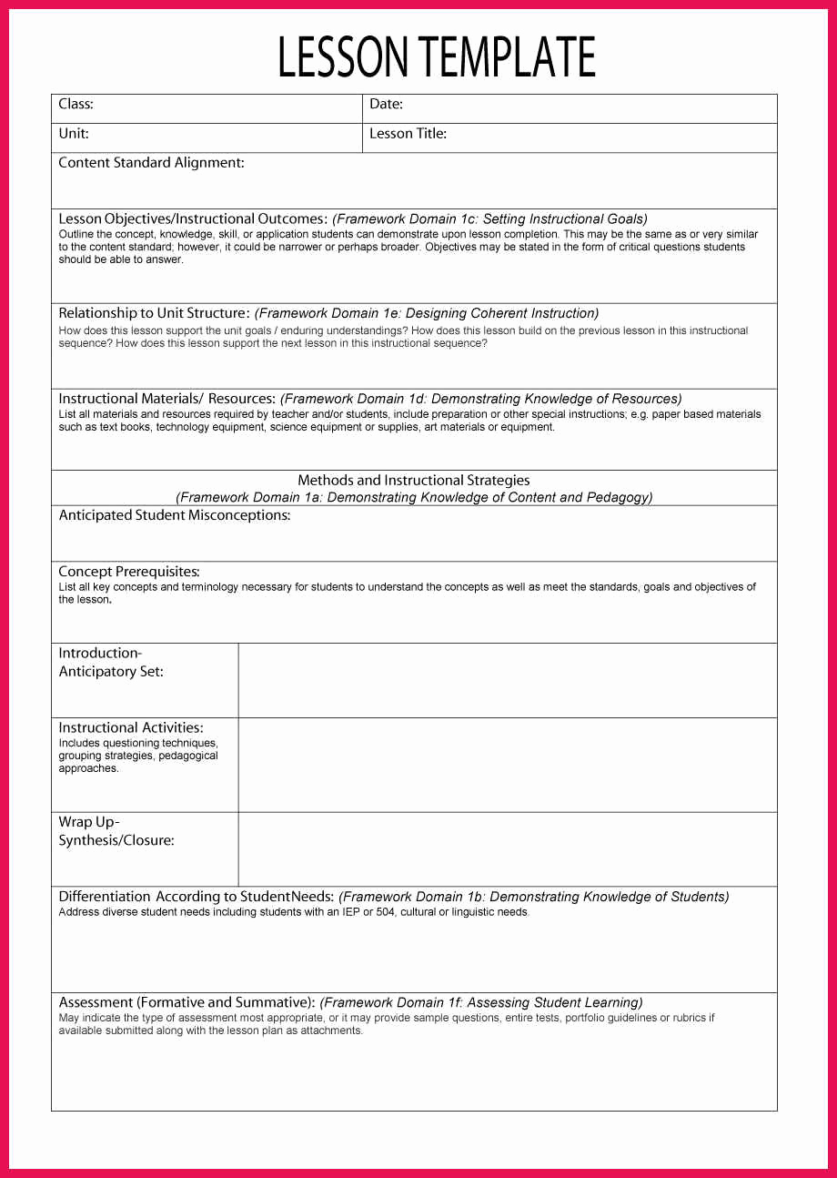 Common Core Lesson Plan Template New Sample Lesson Plan Template