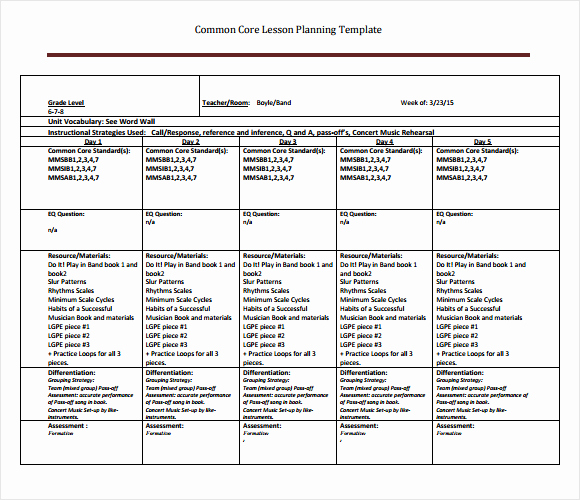 Common Core Lesson Plan Template Unique Best S Of Core Curriculum Lesson Plan Template