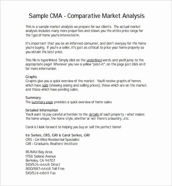 Comparative Market Analysis form Unique Parative Market Analysis Template