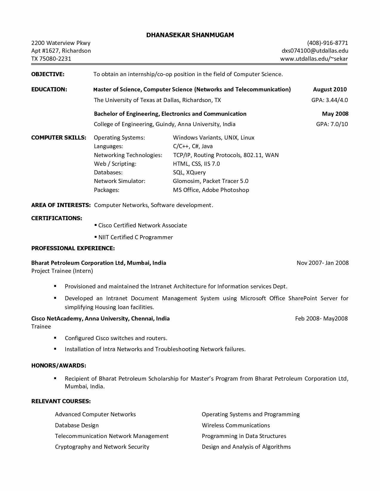 Computer Science Internship Resume Best Of Resume for Internship Puter Science Resume Ideas