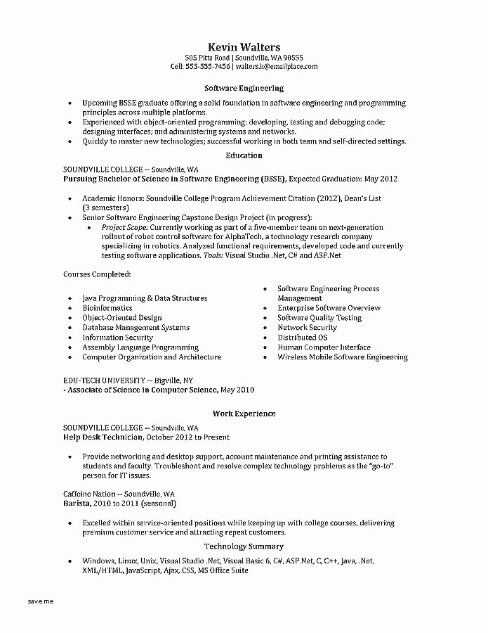 Computer Science Internship Resume Fresh Puter Science Resume New Business Management Resume