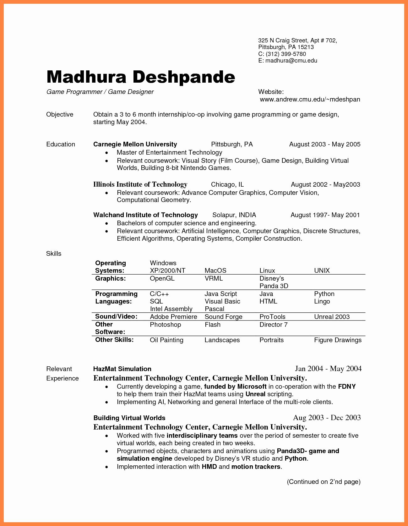 Computer Science Internship Resume Inspirational 9 Puter Science Internship Resume