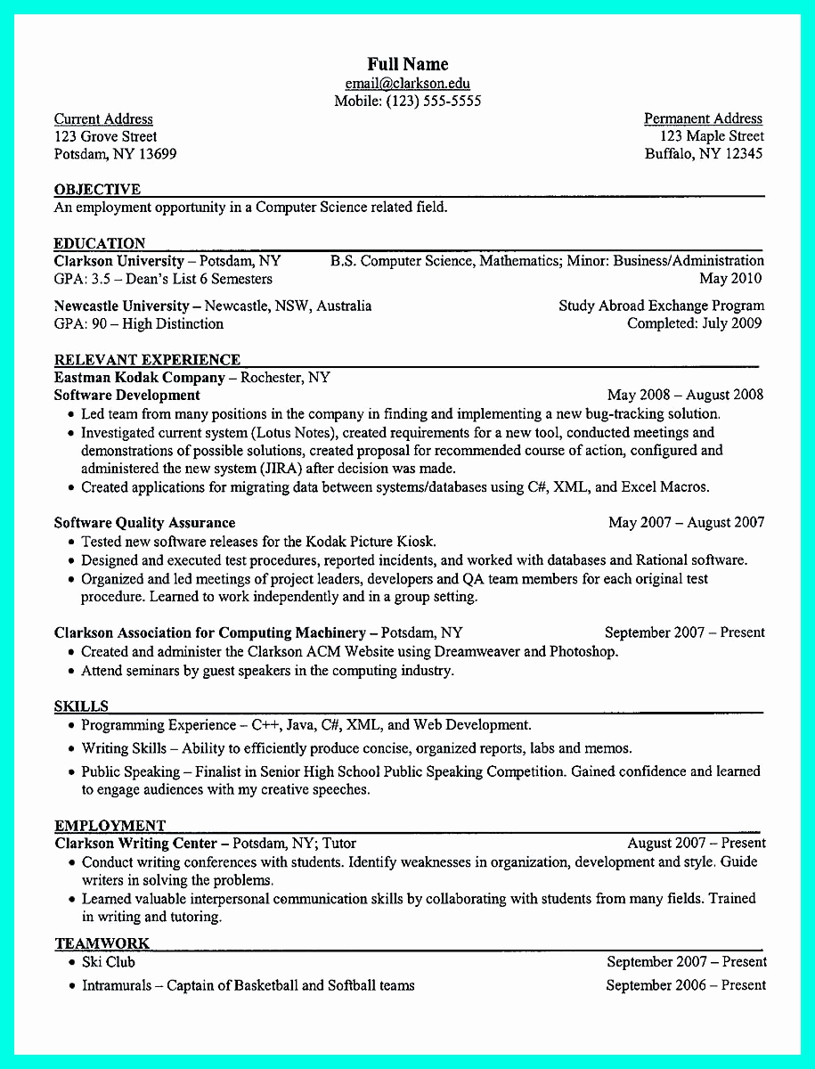 Computer Science Internship Resume Luxury the Best Puter Science Resume Sample Collection