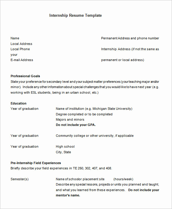 Computer Science Internship Resume Unique 8 Internship Resume Templates Pdf Doc