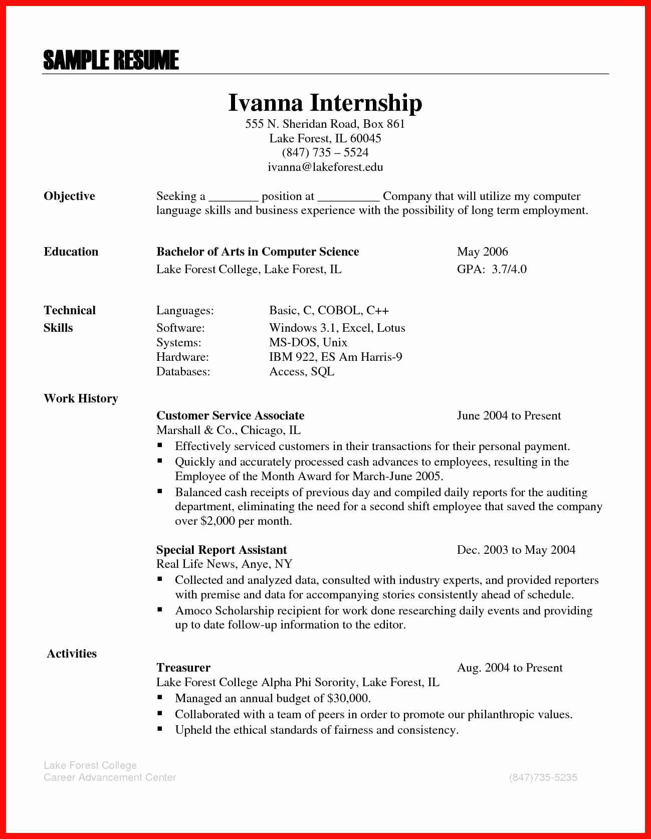 Computer Science Internship Resume Unique Proficient Skills Resume
