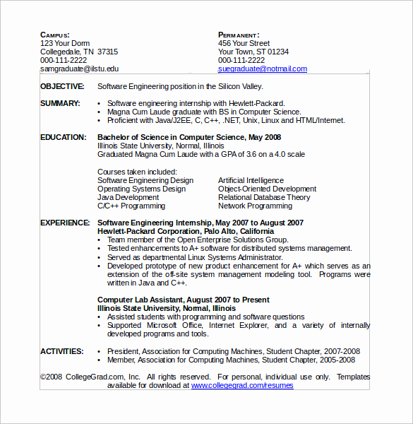 Computer Science Student Resume Beautiful 12 Puter Science Resume Templates to Download