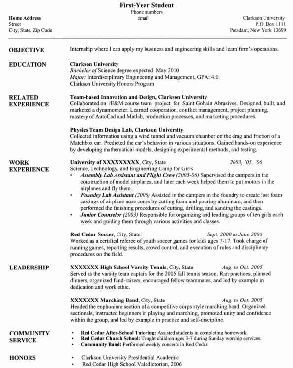 Computer Science Student Resume Fresh Clarkson University Senior Puter Science Resume Sample